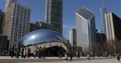Ultra HD 4K Famous Chicago Cloud Gate, The Bean Sculpture, Millennium Park Stock Footage