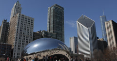 Ultra HD 4K Tourists visits Chicago Cloud Gate, Bean Sculpture, People Walking - stock footage