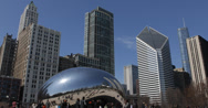 Ultra HD 4K Tourists visits Chicago Cloud Gate, Bean Sculpture, People Walking Stock Footage