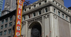 Stock Video Footage of Ultra HD 4K Famous Chicago Theater, Theatre Sign, State Street, Building
