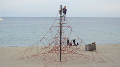 Beach at Barcelona Port Olympic Stock Footage