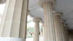 Ceiling of the common-room one hundred pillars park Guell in Barcelona - Spain Stock Footage