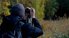 Photographer on the nature Stock Footage