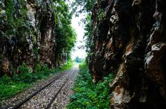 Railway in Kanchanaburi Thailand Stock Photos