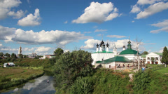 View on churches in Suzdal Russia Stock Footage