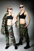 two women in military clothes, army girls - stock photo