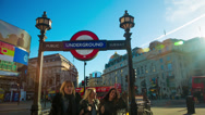 Stock Video Footage of Rush hour in Piccadilly Circus in London