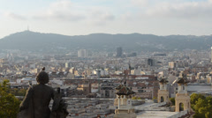 Barcelona cityscape - aerial view seen from Montjuic hill. Stock Footage