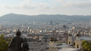 Stock Video Footage of Barcelona cityscape - aerial view seen from Montjuic hill.
