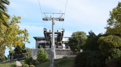 Cable car to Montjuic in Barcelona. Stock Footage