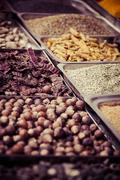 Stock Photo of indian colored spices at local market in goa, india