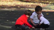 Stock Video Footage of Children's playground, happy kids drawing in the park, fall season