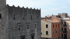 Old buildings in old town of Girona, Spain. Stock Footage