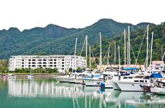 telaga harbour park for parking yacht in langkawi - stock photo