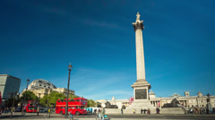 Trafalgar Square and Nelson's Column in London Stock Footage