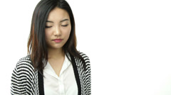 Asian girl isolated on white worried with help sign Stock Footage