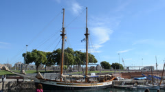 Old frigate moored at Port Vell, Barcelona. Stock Footage