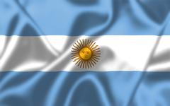 argentina flag blowing in the wind - stock illustration