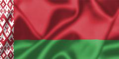 belarus flag blowing in the wind - stock illustration