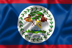 belize flag blowing in the wind - stock illustration