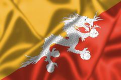 bhutan flag blowing in the wind - stock illustration