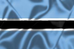 botswana flag blowing in the wind - stock illustration