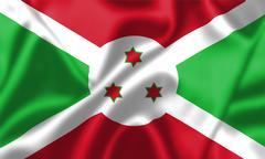burundi flag blowing in the wind - stock illustration