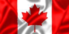 canada flag blowing in the wind - stock illustration