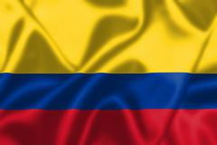 Colombia flag blowing in the wind Stock Illustration