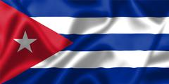 cuba flag blowing in the wind - stock illustration