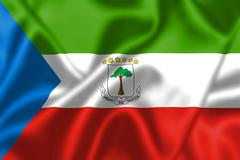 equatorial guinea flag blowing in the wind - stock illustration