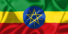 ethiopia flag blowing in the wind - stock illustration