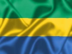 gabon flag blowing in the wind - stock illustration