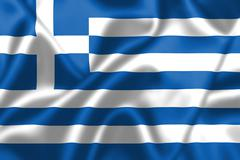 Stock Illustration of greece flag blowing in the wind
