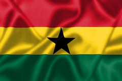 ghana flag blowing in the wind - stock illustration