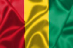 guinea flag blowing in the wind - stock illustration