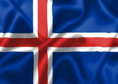 iceland flag blowing in the wind - stock illustration