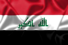iraq flag blowing in the wind - stock illustration