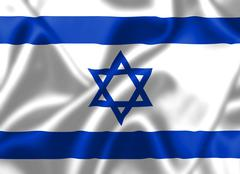 Israel flag blowing in the wind Stock Illustration