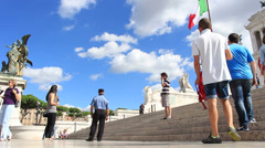 Official whistle blowing at Vittorio Emanuele II monument in Rome Stock Footage
