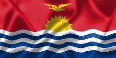Kiribati flag blowing in the wind Stock Illustration
