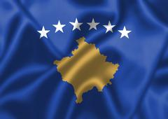 kosovo flag blowing in the wind - stock illustration