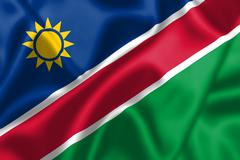 Namibia flag blowing in the wind Stock Illustration