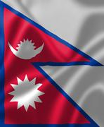 Nepal flag blowing in the wind Stock Illustration