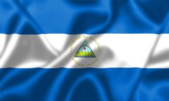 Nicaragua flag blowing in the wind Stock Illustration