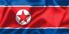 North korea flag blowing in the wind Stock Illustration