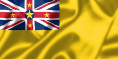 niue flag blowing in the wind - stock illustration