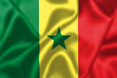 Senegal flag blowing in the wind Stock Illustration