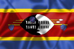 swaziland flag blowing in the wind - stock illustration