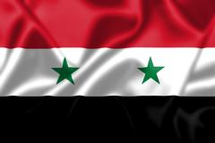 syria flag blowing in the wind - stock illustration